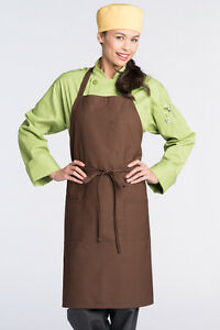 Uncommon Threads 3 Pocket Bib Apron One Size Fits All Brown 3004-0200
