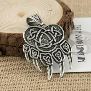 Viking Necklace Norse Bear Paw Pendant Stainless Steel Mens Jewellery