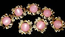 Antique Moonglow Pink Lucte & Rhinestone Floral 1950s Demi Bracelet & Earring...