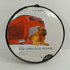 SportPet Designs Large Pop Open Dog Kennel 70lbs+ Safety Vehicle Straps Red NEW