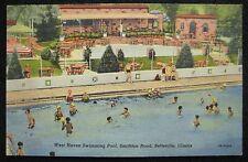 Belleville Illinois IL West Haven Swimming Pool Smithton Road Linen Postcard