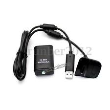 4800mAh Battery Pack +Charging Cord Cable For Wireless Controller Xbox 360 Black