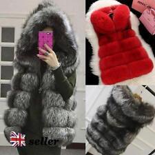 Unbranded Faux Fur Button Hip Length Waistcoats for Women