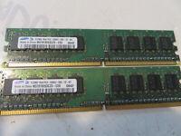 2x Samsung 512MB M378T6553CZ3-CE6 0642 PC2-5300U 555 1Rx8 Speicher RAM