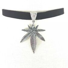 Marijuana Leaf Choker Necklace Pot Hemp Velvet Silver Tone Pendant New