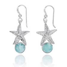 Unique Original Handmade Star Fish Silver Earrings With Natural Larimar Stone
