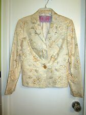 Tuleh XS 2 Jacket Blazer Cream Peach Gray Snail Pattern Spring Summer --Mint!