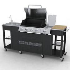 Outdoor Küche Gasgrill Grill 4 Brenner  Edelstahl  Kochfeld Spüle und Schränke