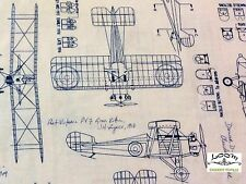 RPFRK123xb Blueprint Airplane Architect Drafting Engineer  Cotton Fabric