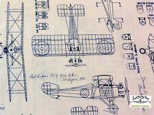 RPFRK123xb Blueprint Airplane Architect Drafting Engineer  Cotton Fabric