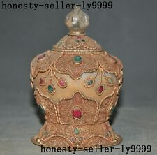 "5""old Tibetan Buddhism crystal Filigree silver gem Relics Tanks Crock pot jar"