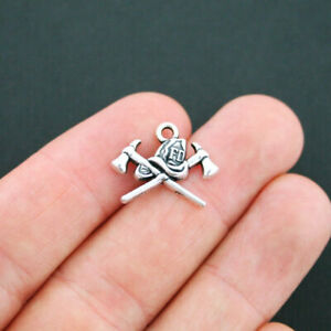 8 Fireman Charms Fire Department Charms Antique Silver Tone - SC4931
