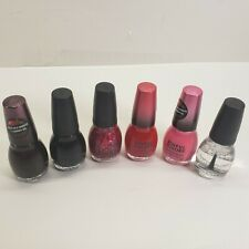 Lot Of 6 Sinful Colors Professional Nail Polish Top Coat Pink Red Glitter Black