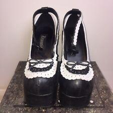 DEMONIA GOTHIC LOLITA PLATFORM SHOES UK 6 / 40 PU Black & White Bow Goth