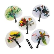 (12) Mini Paper Oriental Folding Fan Chinese Hand Held Set Birthday Party