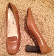 ANN TAYLOR All Leather Block Heel Shoes Slip on Made in Italy women's Sz 8-1/2 M