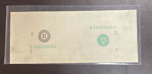 $20 Federal Reserve Note - MISSING 2nd Face PRINT ERROR - FRN  -RARE-