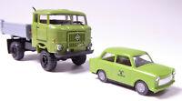 H0 BUSCH IFA W 50 LA 3 Seitenkipper Speditionskabine + Trabant StFB Forst 95238
