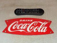 """VINTAGE DRINK COCA COLA FISHTAIL 12"""" PORCELAIN METAL SODA POP GASOLINE OIL SIGN!"""