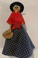 "Vintage Clothes Pin Handmade Doll- Blue Dress With Matching Hat. 5""tall"
