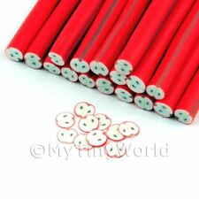 3x Highly Detailed Red Apple Nail Art Canes (nc70)