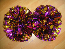 Football Basketball Team Dance Girl Christmas Cheerleader 2PomPoms Purple& Gold