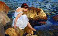 Oil painting female portrait young girl by beach in summer Hand painted