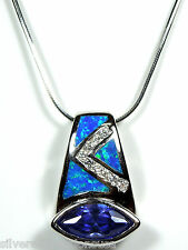 """925 Sterling Silver 18"""" Necklace with Tanzanite & Blue Fire Opal Inlay Slide"""