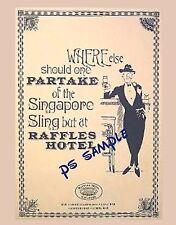 Singapore - RAFFLES Hotel - SINGAPORE SLING AD - Travel Souvenir Fridge Magnet