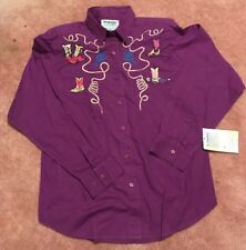 Wrangler Authentic Western Apparel Purple Cowgirl shirt womans size l 16-16 1/2