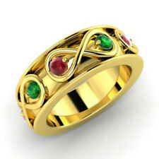 Solid Real 14K Yellow Gold 0.80 Ct Natural Gemstone Ring Eternity Band Size M,N