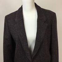 Vintage Andre Barreau 14 Blazer Black Maroon Lined 100% Wool Jacket Women's
