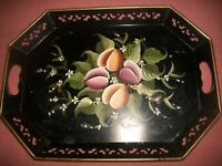 "VTG Hand Painted Black Floral Toleware Tray 13"" x 18"" with Handles~PILGRIM ART"