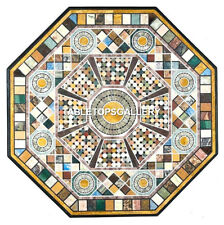 """36"""" Black Marble Top Table Best Quality Inlay Multi Mosaic Stone Art Decor H5677"""