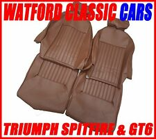 Triumph Spitfire / GT6 Seat Covers 1 pair Brown Vinyl with Headrest covers