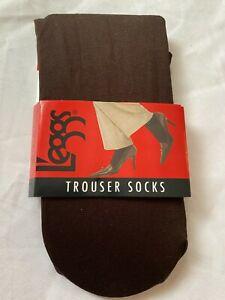 L'eggs Dark Brown Trouser Socks Nylon/Spandex Women's Shoe Size 5-9 NIP