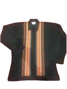 John Smedley Large Merino Wool Sweater New. Black with orange vertical bars.