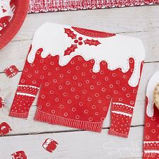 CHRISTMAS JUMPER SHAPED NAPKINS -Red & White Sweaters- Xmas Party -RANGE IN SHOP
