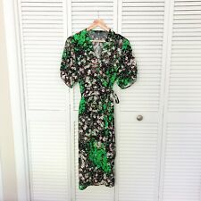 And Other Stories Black Neon Green Floral Wrap Midi Summer Dress