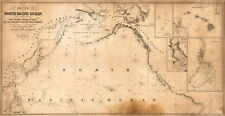 1849 Chart of the North Pacific Ocean U.S. Coastal Map Nautical Survey Poster