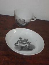 TEA CUP & SAUCER BOWL CLASSICALLY INSPIRED BAT PRINT WOMAN CHILD CIR1800S