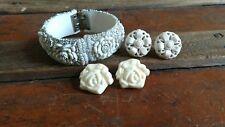 Vintage carved plastic Jewelry lot clamper Bracelet Off White Plastic floral lot