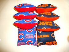 8 Cornhole Bean Bag Tailgate Toss Set Chicago Bears and Cubs