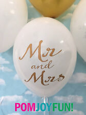Mr and Mrs Balloons in Gold & White, 11 Inch Balloons  Wedding Decor Pack of 6