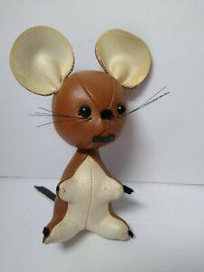 "Vintage R. Dakin Dream Leather Pets Stuffed Mouse Brown/White 6"" Japan"