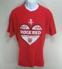 Gildan Mens XL Graphic T-Shirt Red SS Cotton Houston Rockets Heart Health D1