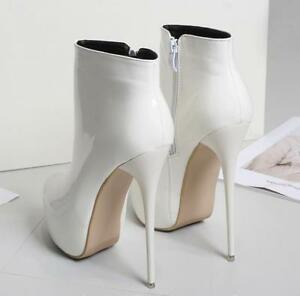 Womens Shiny Patent Leather Ankle Boots Platform High Heel Pumps Shoes Stiletto