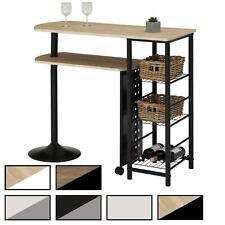 Table haute de bar mange-debout avec comptoir tablette mobile et 3 étagères