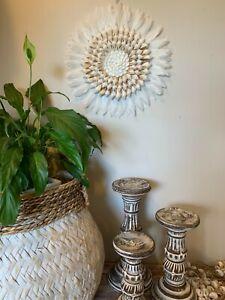 JUJU wall decor hanging - Shell and feather HAND-CRAFTED COASTAL BOHO 30cm