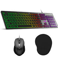 Backlit Computer Desktop Wired Gaming Working Keyboard/Mouse/Pad Led Light Set